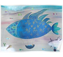 Flying Fish in Sea of Clouds with Sleeping Child Poster