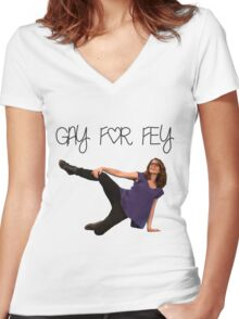Gay for Fey Women's Fitted V-Neck T-Shirt