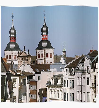 Old City Buildings Poster