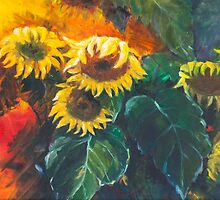 still life with sunflowers oil painting by Jennkweon