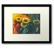 still life with sunflowers oil painting Framed Print
