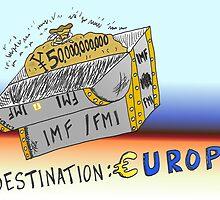 Binary Options Cartoon - 50 Billion Yen for IMF to help the EU by Binary-Options