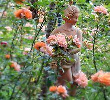 Lady in a rose garden by juliedawnfox