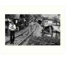 tracks (black and white) Art Print