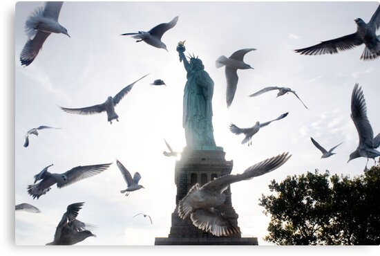 Statue of Liberty with Birds: NYC by brotherbrain