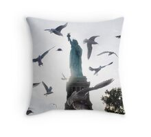 Statue of Liberty with Birds: NYC Throw Pillow