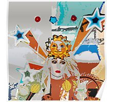 Pop arty tarot inspired collage - the sun Poster