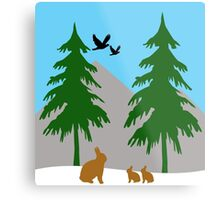 Winter scene with snow, bunnies, trees, and birds Metal Print