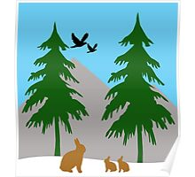 Winter scene with snow, bunnies, trees, and birds Poster