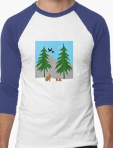 Winter scene with snow, bunnies, trees, and birds Men's Baseball ¾ T-Shirt