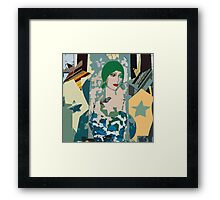 Pop arty tarot inspired collage - the moon Framed Print