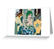 Pop arty tarot inspired collage - the moon Greeting Card