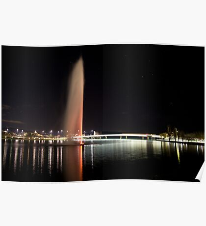 Captain Cook Water Jet in Lake Burley Griffin at night Poster