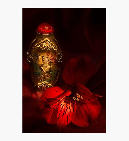 Oriental Snuff Bottle and Alstroemeria Photographic Print