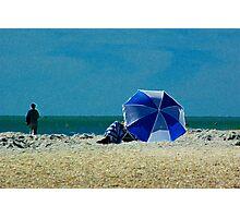 Beach Umbrella with Filter Photographic Print
