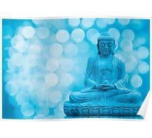 buddha light blue Poster