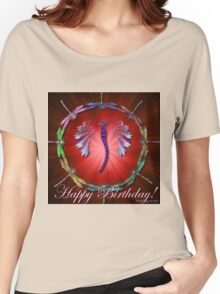 Red Dragonfly Dance Birthday Design Women's Relaxed Fit T-Shirt