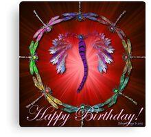 Red Dragonfly Dance Birthday Design Canvas Print