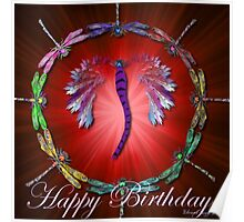 Red Dragonfly Dance Birthday Design Poster