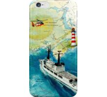 USCGC CHASE Helicopter Lighthouse Map Cathy Peek iPhone Case/Skin