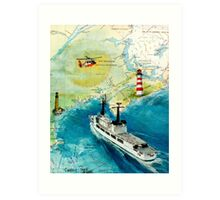 USCGC CHASE Helicopter Lighthouse Map Cathy Peek Art Print