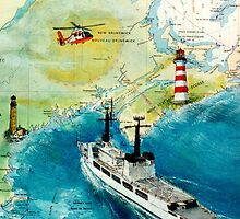 USCGC CHASE Helicopter Lighthouse Map Cathy Peek by Cathy Peek