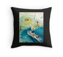 USCGC CHASE Helicopter Lighthouse Map Cathy Peek Throw Pillow