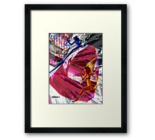 Running With Traffic Framed Print