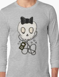 Girly Skull with Black Bow / Die for Music Long Sleeve T-Shirt