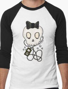 Girly Skull with Black Bow / Die for Music Men's Baseball ¾ T-Shirt
