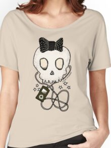 Girly Skull with Black Bow / Die for Music Women's Relaxed Fit T-Shirt