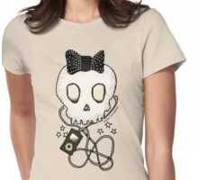 Girly Skull with Black Bow / Die for Music Womens Fitted T-Shirt