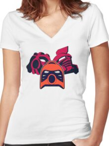 MASK OF FIRE Women's Fitted V-Neck T-Shirt