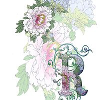 19th C. Peonies, Monogram R by VintageEraArt