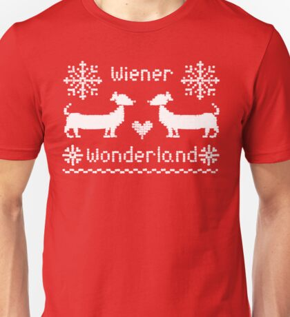 Wiener Wonderland in Festive Red - Dachshund Sausage Dog Unisex T-Shirt