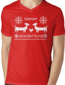 Wiener Wonderland in Festive Red - Dachshund Sausage Dog Mens V-Neck T-Shirt