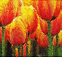 Red Tulip Painting Art by Nhan Ngo