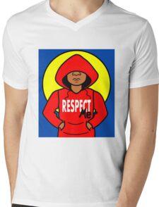 Cartoon African American Boy Wearing Red Hoodie Mens V-Neck T-Shirt