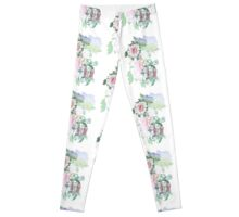 19th C. Peonies, Monogram D Leggings