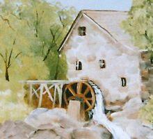 The Mill - Acrylic on Wood by Loreen Finn