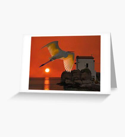 Great Egret sunset in Skala Greeting Card