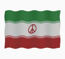 Iran flag with peace symbol by stuwdamdorp