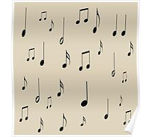 Musical notes on tan background Poster