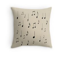 Musical notes on tan background Throw Pillow