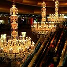 The Amazing Chandeliers at the Trump Taj Mahal, Atlantic City NJ - gold tint by Jane Neill-Hancock