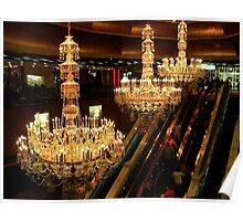 The Amazing Chandeliers at the Trump Taj Mahal, Atlantic City NJ - gold tint Poster