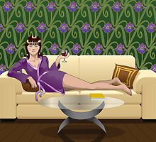 Relaxing with a Glass of Wine by Debbie Jew