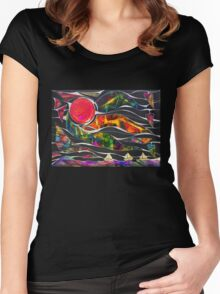 Three Ships - Let's Sail Away Women's Fitted Scoop T-Shirt