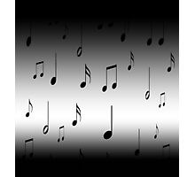 Musical notes on a black to gray gradient background Photographic Print
