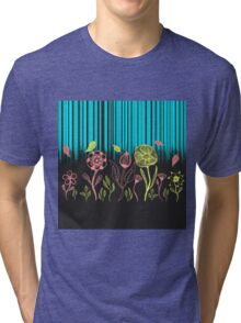 Hand Drawn Flower & Rain Scene Tri-blend T-Shirt